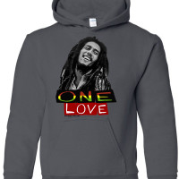 Bob Marley One Love Athletic Heather Youth Hoodie Charcoal Grey
