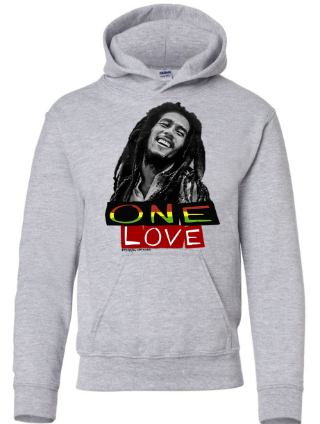 Bob Marley One Love Athletic Heather Youth Hoodie Grey