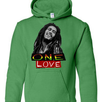Bob Marley One Love Athletic Heather Youth Hoodie Irish Green