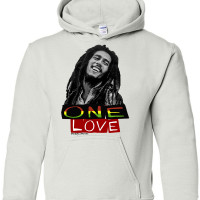 Bob Marley One Love Athletic Heather Youth Hoodie White