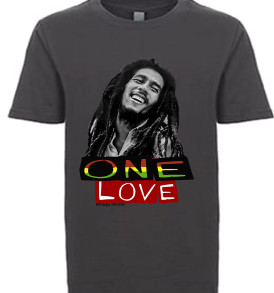 Bob Marley One Love Youth Graphic T-Shirt Charcoal Grey