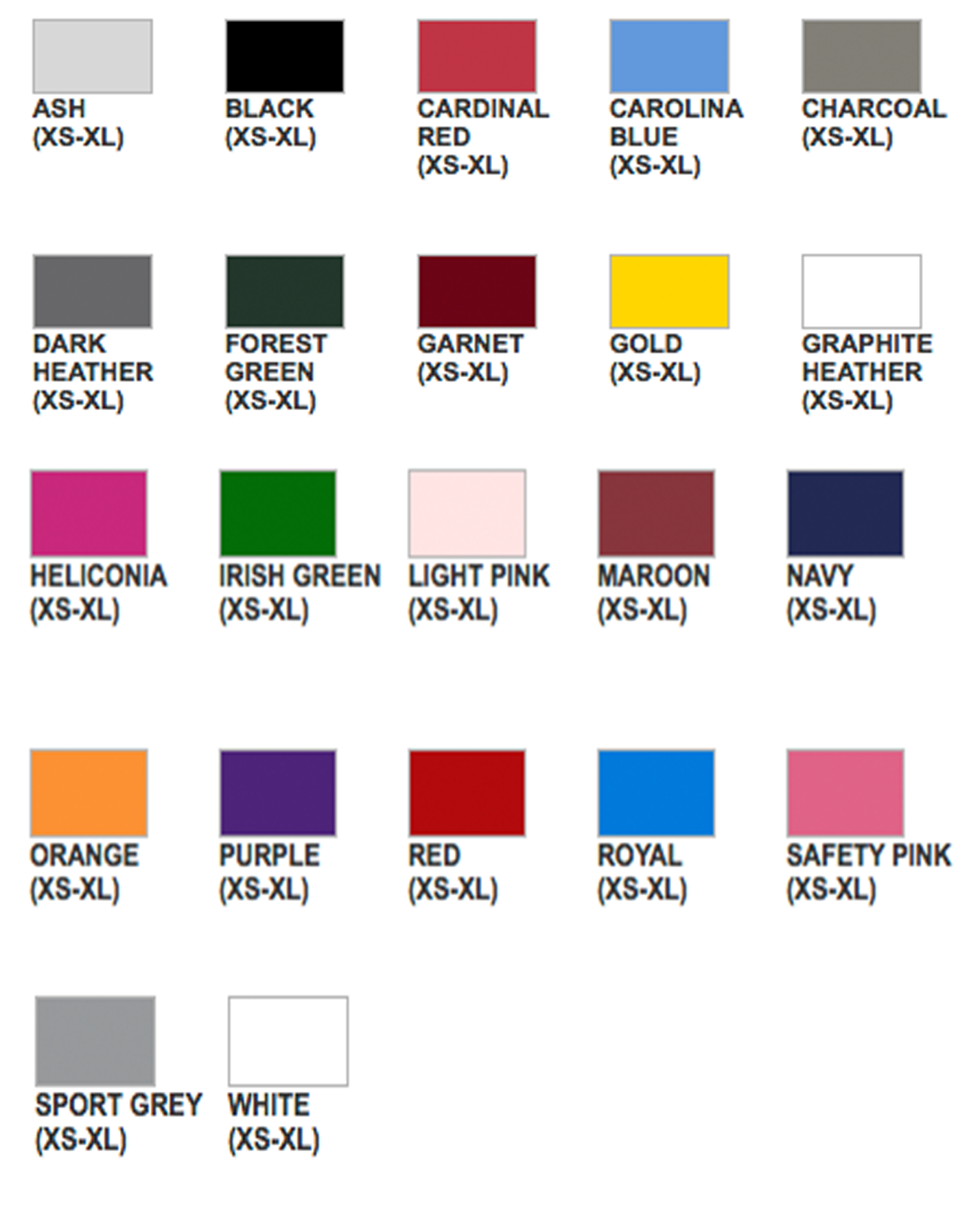Youth Hoodie Color Chart