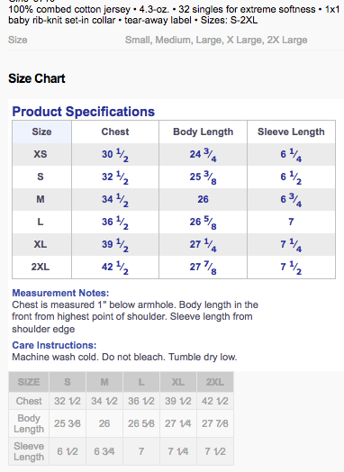womens bf tee size chat