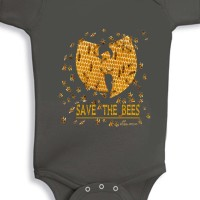Save The Bees Baby Onesie Charcoal Grey
