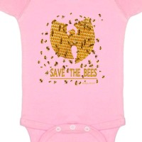 Save The Bees Baby Onesie  Light Pink