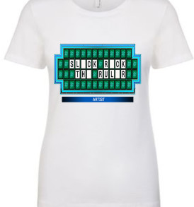 White Slick Rick The Ruler Game Show Board Womens T-shirt
