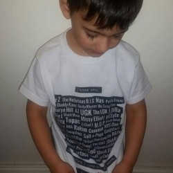 Miles in his Legends of the Womb T-Shirt