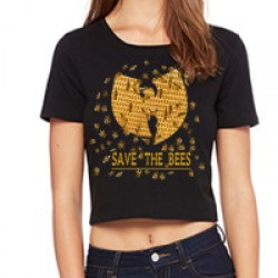 Black Wu Tang Clan Save The Bees Womens Poly-Cotton Crop T-Shirt