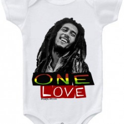 Bob Marley One Love Baby Onesie White
