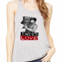 I Need Love LL Cool J  Athletic Heather Womens Flowy Racerback Tank