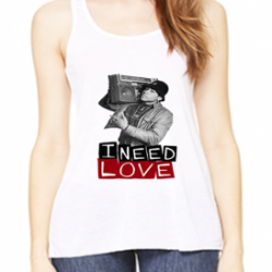 I Need Love LL Cool J White Womens Flowy Racerback Tank