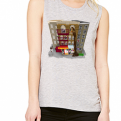 Rapunzel in Brooklyn Athletic Heather Womens Flowy Scoop Muscle Tank-Recovered