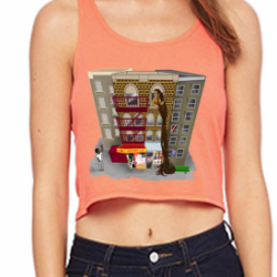 Rapunzel in Brooklyn coral Womens Poly-Cotton Crop Tank