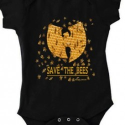 Save The Bees Baby Onesie  Black