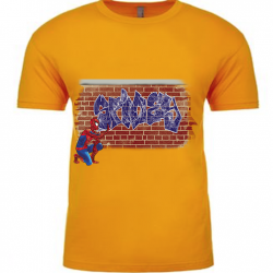 Spidey Graffiti Gold Mens T-Shirt