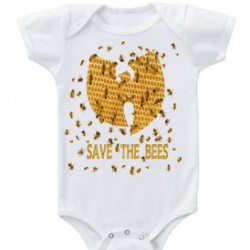 White Save the Bees Wu-Tang Clan Baby Onesie
